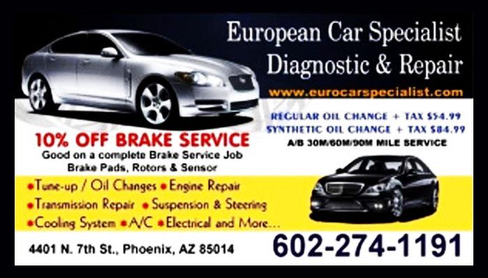 European Car Specialists Diagnostic Repair Phoenix Arizona