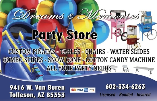 DREAMS & MEMORIES #PARTY #STORE (602) 334-6263 #Tables #Chairs #WaterSlide #SnowCones #Cotton #Candy #Machine @AzSeasonsMag @AzSeasons azseasonsmagazines.com