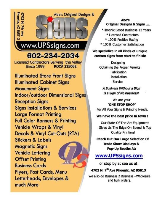 ABE'S ORIGINAL #DESIGN AND #SIGN (602) 234-2034 #Posters #Banners #Print #BusinessCards #Flyers #VehicleWraps #Phx #AZ @AzSeasonsMag @AzSeasons azseasonsmagazines.com
