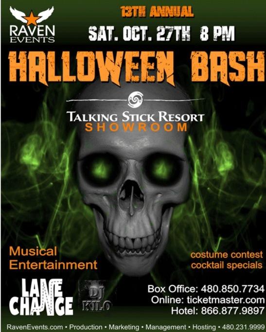RAVENS 13TH HALLOWEEN BASH Sat. Oct 27th 8pm @talkingstickresort #livemusic @lanechangerocks #djkilo #club #bar #casinos @AzSeasonsMag @AzSeasons
